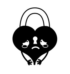 Contour crying heart padlock kawaii personage vector