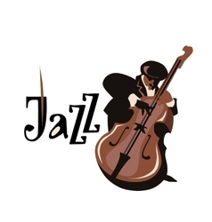 Contrabass player flat vector