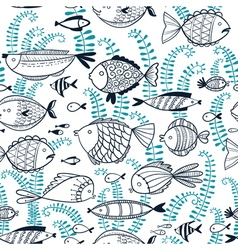 doodle seamless background with fishes vector image