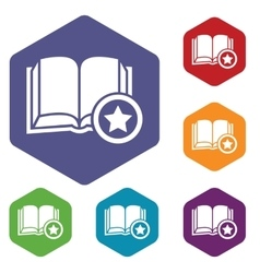 Favorite book hexagon icon set vector