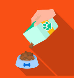 Feeding a pet feed in a bowl petdog care single vector