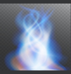 Fire blue flame bright transparent vector