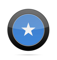 Flag of somalia shiny black round button vector