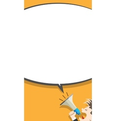 Flat Icon of Megaphone with Speech Bubble vector image