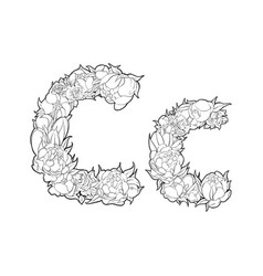 Flower alphabet the letter c vector