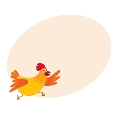 Funny cartoon red and orange chicken hen rushing vector
