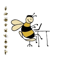 Funny office bee sketch for your design vector