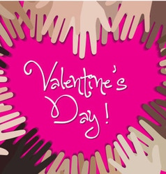 Happy valentine day with hand creative heart vector