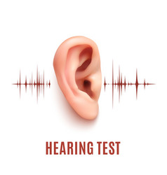 Hearing test ear on white background vector