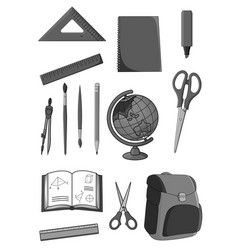 Icons set of school education supplies vector