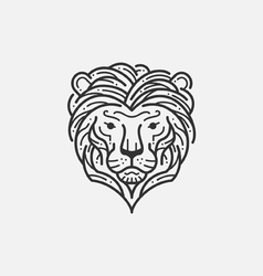 Lion line mono vector