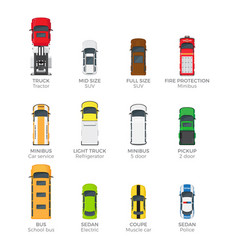 modern vehicle transport top view icons set vector image