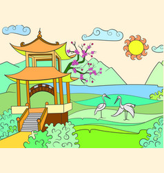 Nature of japan color book for children cartoon vector