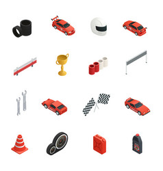 racing isometric icons set vector image