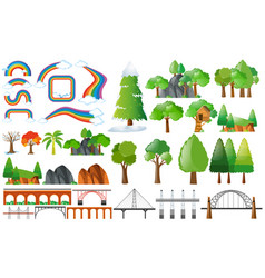 rainbows trees and design elements vector image