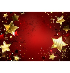 Red Background with Gold Stars vector image