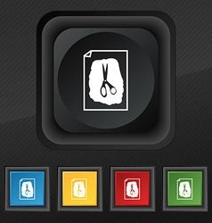 Rock scissors paper poster icon symbol set of five vector