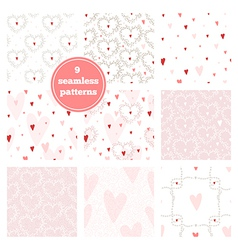 Set of nine pink seamless patterns vector image
