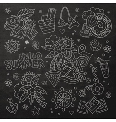 Summer and vacation chalkboard symbols vector