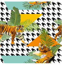 Tigers flowers and palm leaves background vector
