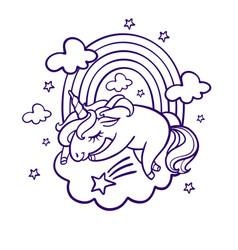 unicorn sleeping vector image
