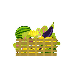 wooden box with fruits and vegetables icon vector image