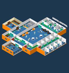mental hospital isometric interior vector image