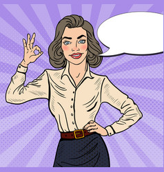 Pop art successful businesswoman gesturing ok vector