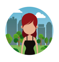 Portrait woman city background vector