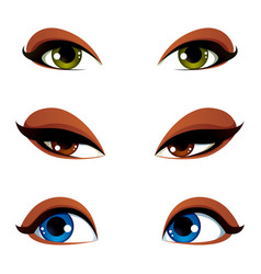 Female eyes collection in different emotion with vector