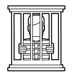 Male prisoner behind bars icon image vector