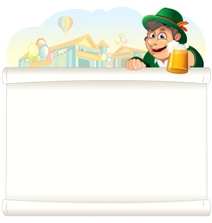 Bavarian guy with beer on oktoberfest background vector