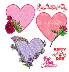 set of 3 decorative handdrawn floral hearts vector image
