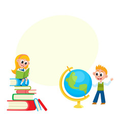 Children learn girl reading boy studying globe vector