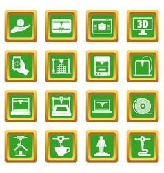 3d printing icons set green vector