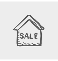 Sale sign sketch icon vector