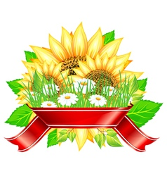 Sunflower label design vector