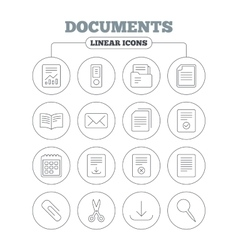 Documents linear icons accounting book vector