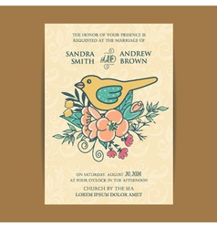 Invitation card wiyh flowers and bird vector
