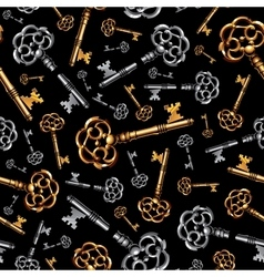 Gold and silver vintage keys on black background vector