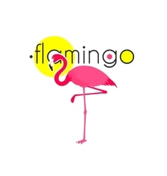 Pink flamingo resort emblem flat icon vector