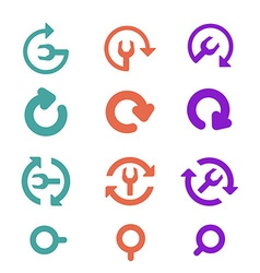 Icons Pack and restart refresh Flat style vector image