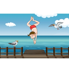 A jumping boy vector image vector image