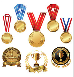 awards and trophies collection vector image