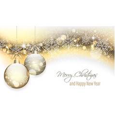 christmas banner with hanging baubles vector image