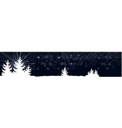 dark blue banner with Christmas trees vector image