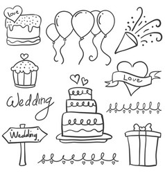 Element wedding party in doodle style vector