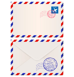 envelope international air mail with red and blue vector image vector image