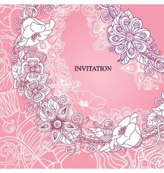 Floral invitation hand drawn retro flowers and vector