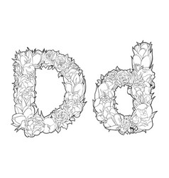 Flower alphabet the letter d vector